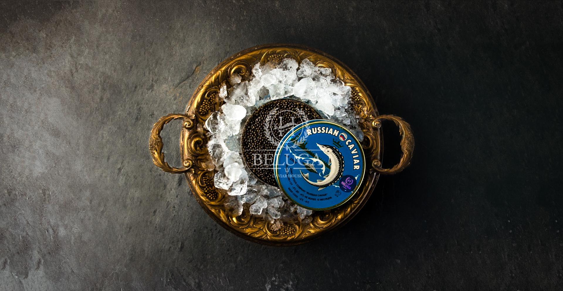 Black caviar of Russian sturgeon